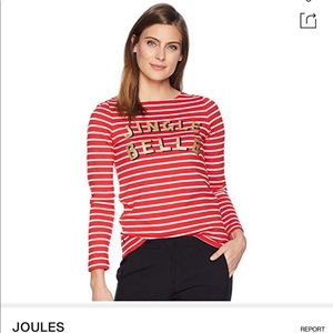 Sleigh Stripe Joules Womens Harbour Print Long Sleeve Jersey Top